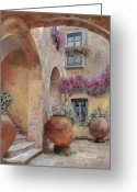 Bougainvillea Greeting Cards - Le Arcate In Cortile Greeting Card by Guido Borelli