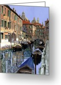 Guido Tapestries Textiles Greeting Cards - Le Barche Sul Canale Greeting Card by Guido Borelli