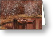 Solitude Greeting Cards - Le Barche Sullo Stagno Greeting Card by Guido Borelli