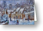 Villagers Greeting Cards - Le Cafe Breizh A Warm Welcome in the Winter Snow Greeting Card by Jeanette Leuers