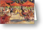 Umbrellas Greeting Cards - Le Cafe du Jardin  Greeting Card by Peter Graham