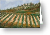 Vineyard Greeting Cards - Le Case Nella Vigna Greeting Card by Guido Borelli