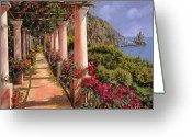 Scenic Greeting Cards - Le Colonne E La Buganville Greeting Card by Guido Borelli
