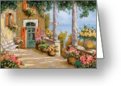 Guido Tapestries Textiles Greeting Cards - Le Colonne Sulla Terrazza Greeting Card by Guido Borelli