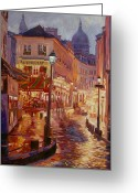 Night Scene Greeting Cards - Le Consulate Montmartre Greeting Card by David Lloyd Glover