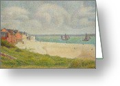 Pointillist Painting Greeting Cards - Le Crotoy looking Upstream Greeting Card by Georges Pierre Seurat