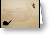 Soft Painting Greeting Cards - Le Cygne Greeting Card by Carrie Jackson