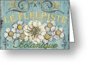 Green Painting Greeting Cards - Le Fleuriste de Bontanique Greeting Card by Debbie DeWitt