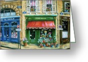Street Scene Greeting Cards - Le Fleuriste Greeting Card by Marilyn Dunlap