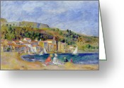 Ports Greeting Cards - Le Lavandou Greeting Card by Pierre Auguste Renoir