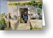 Eating Painting Greeting Cards - Le Mazet Greeting Card by Armand Coussens