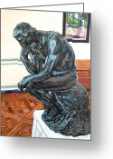 Royal Gamut Art Greeting Cards - Le Penseur The Thinker Greeting Card by Tom Roderick