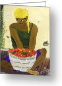 Spice Painting Greeting Cards - Le Piment Rouge d Haiti Greeting Card by Nicole Jean-Louis
