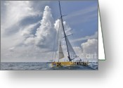 Sails Digital Art Greeting Cards - Le Pingouin Race Yacht Open 60 Greeting Card by Dustin K Ryan