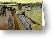 Bays Greeting Cards - Le Pont de Trinquetaille in Arles Greeting Card by Vincent Van Gogh