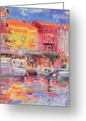 Mooring Greeting Cards - Le Port de St Tropez Greeting Card by Peter Graham