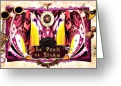 Hot Air Balloon Mixed Media Greeting Cards - Le Punk de Steam Greeting Card by Paula Ayers