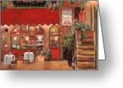 Cafe Greeting Cards - Le Rendez Vous Greeting Card by Guido Borelli