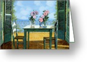 Guido Tapestries Textiles Greeting Cards - Le Rose E Il Balcone Greeting Card by Guido Borelli
