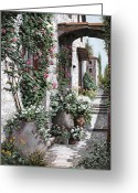 Steps Greeting Cards - Le Rose Rampicanti Greeting Card by Guido Borelli