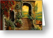 Oil Canvas Greeting Cards - Le Scale   Greeting Card by Guido Borelli