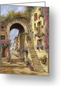 Stairs Greeting Cards - Le Scale E Un Arco Greeting Card by Guido Borelli