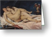 Girls Greeting Cards - Le Sommeil Greeting Card by Gustave Courbet