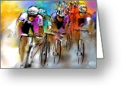 Sports Art Drawings Greeting Cards - Le Tour de France 03 Greeting Card by Miki De Goodaboom