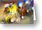 Impressionism Art Greeting Cards - Le Tour de France 05 Greeting Card by Miki De Goodaboom