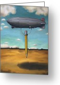 Sky Painting Greeting Cards - Lead Zeppelin Greeting Card by Leah Saulnier The Painting Maniac