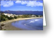 Santa Barbara Digital Art Greeting Cards - Leadbetter Beach Greeting Card by Kurt Van Wagner
