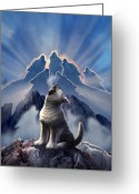 Howling Wolf Greeting Cards - Leader of the Pack Greeting Card by Jerry LoFaro