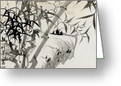 Grey Painting Greeting Cards - Leaf C Greeting Card by Rang Tian