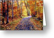 Most Greeting Cards - Leaf Covered Road Greeting Card by David Lloyd Glover