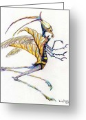 Fantasy Art Greeting Cards - Leaf Hopper Greeting Card by Mindy Newman