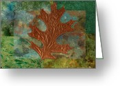 Textured Art Greeting Cards - Leaf Life 01 - Green 01b2 Greeting Card by Variance Collections