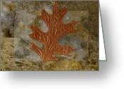 Textured Art Greeting Cards - Leaf Life 01 -Brown 01b2 Greeting Card by Variance Collections