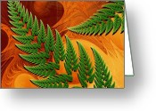 Fractal Art Greeting Cards - Leaftips in Forest Greeting Card by Pam Blackstone