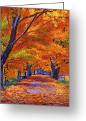 Country Lanes Painting Greeting Cards - Leafy Lane Greeting Card by David Lloyd Glover