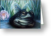 Lilly Pad Painting Greeting Cards - Leahs Butterfrog Greeting Card by Lorraine Davis Martin