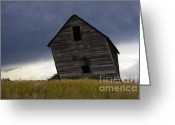 Prairie Landscape Greeting Cards - Leaning A Little 2 Greeting Card by Bob Christopher