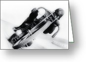 Racer Digital Art Greeting Cards - Leaning Hard Greeting Card by Bill Cannon