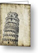 Backside Greeting Cards - Leaning Tower of Pisa on old paper Greeting Card by Setsiri Silapasuwanchai