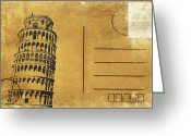 Backside Greeting Cards - Leaning Tower of Pisa postcard Greeting Card by Setsiri Silapasuwanchai