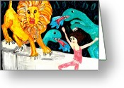 Dinosaurs Ceramics Greeting Cards - Leap Away from the Lion Greeting Card by Sushila Burgess