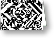 Learn To A Maze Greeting Cards - Learn To A Maze Book Cover 1 Greeting Card by Yonatan Frimer Maze Artist