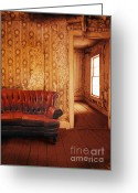 Vintage House Greeting Cards - Leather Sofa in Rundown Room Greeting Card by Jill Battaglia