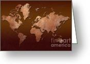 Antique Map Digital Art Greeting Cards - Leather World Map Greeting Card by Zaira Dzhaubaeva