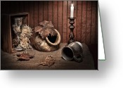 Pottery Photo Greeting Cards - Leaves and Vessels by Candlelight Greeting Card by Tom Mc Nemar