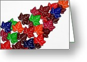 Chic Greeting Cards - Leaves Greeting Card by Oliver Johnston
